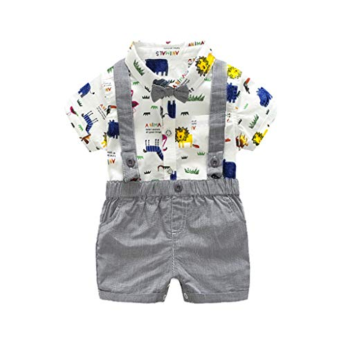 (Infant Boys Outfits, Vinjeely Baby Bow Tie Zoo Animals Cartoon Print Romper+Shorts Overalls)