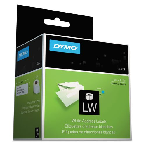 DYMO LabelWriter Self-Adhesive Address Labels, 1 1/8- by 3 1/2-inch, White, 8 Rolls of 350, 2800 Labels Total (30252) by DYMO