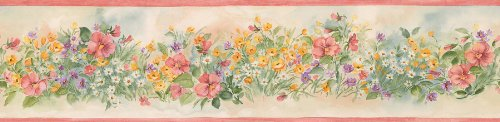 Brewster 499-03568  Wildflower Border Wallpaper, (Wildflower Wallpaper)