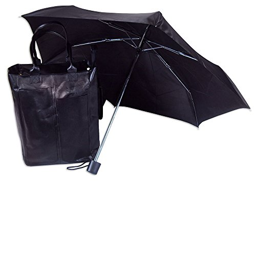 Capezio Black Bonded Leather Shopping Tote with Matching Umbrella.