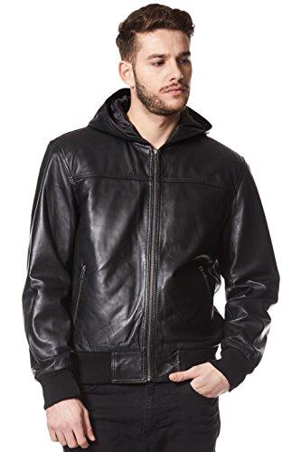 Chaqueta de cuero con capucha real de estilo retro 70S con capucha negra para hombres de Bomber 3252