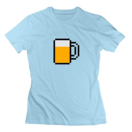 L572 8-Bit Beer Mug Tee Shirts For Womens L SkyBlue by L572