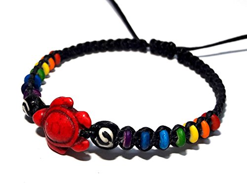 Turtle Hemp Bracelet -Turtle in Red Color - Hawaiian - Black Bracelet - Rainbow Hemp Bracelet