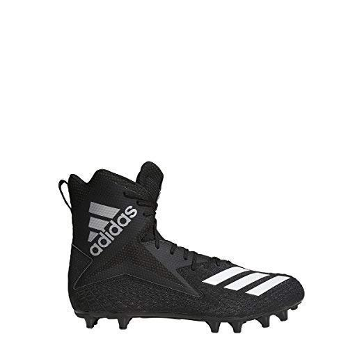 adidas Men's Freak High Wide Football Cleats (15, Black/White/Black)