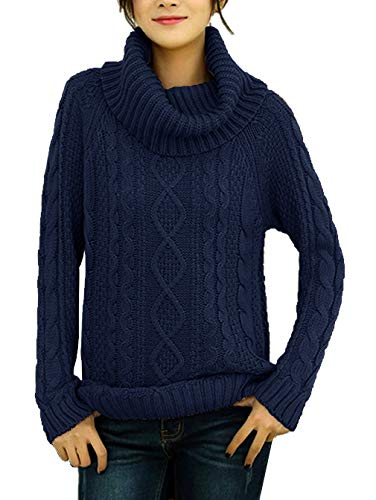 - v28 Women's Korean Design Turtle Cowl Neck Ribbed Cable Knit Long Sweater Jumper (Navy,S)