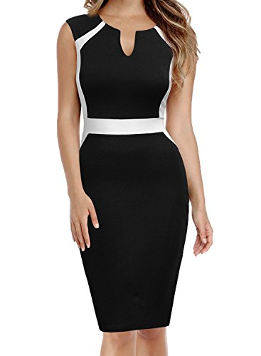 MUSHARE Women's Sleeveless Deep V Neck Bodycon Cocktail Party Penci Dress (Black+White, X-Large)