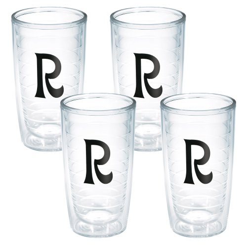 (Tervis Tumbler with Decorative Black Twill Letter-R, 16-Ounce, 4-Pack)