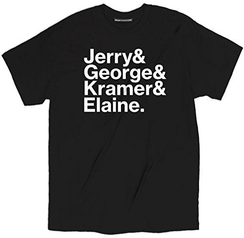 Misky & Stone Jerry& George& Kramer& Elaine Tee Funny Tv Show Unisex T Shirt Black -