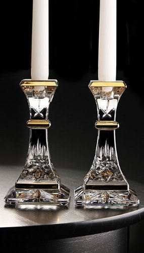 Waterford Lismore Gold 6'' Candlestick, Pair