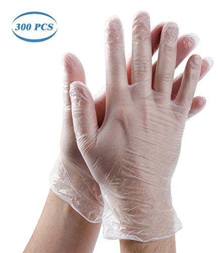 Funmazit 300PCS Disposable Clear Plastic Gloves, Disposable Food Prep Gloves, Disposable Polyethylene Work Gloves for…
