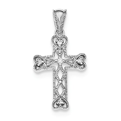 925 Sterling Silver Cubic Zirconia Cz Cross Religious Pendant Charm Necklace Fine Jewelry For Women Gift Set ()