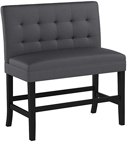 Christopher Knight Home 300883 Paddy Tufted Back Fabric Barstool Bench (Dark Charcoal