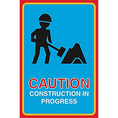 """Diuangfoong Caution Construction in Progress Print Man Shovel Working Picture Warning Construction Street Road Business Aluminum Metal Tin 12""""x18"""" Sign Plate Public Notice Sign from Diuangfoong"""