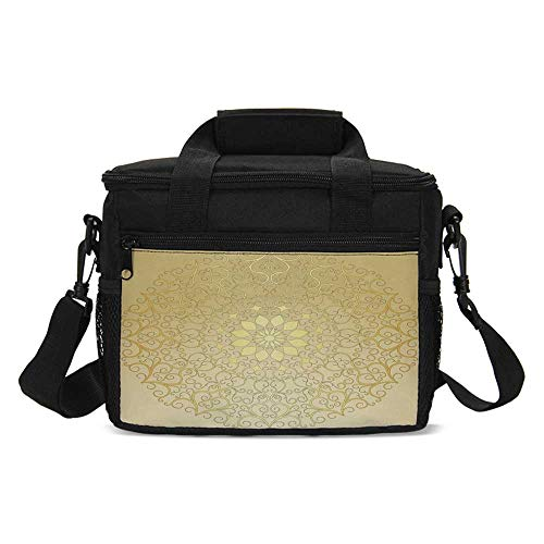 Gold Mandala Lightweight Lunch Bag,Round Antique Motif Curvy Stylized Ornate Heart Shape Arabesque Influences Decorative for Daily Use,One size