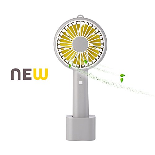 Mini Handheld Fan, Portable Personal USB Fan, USB Rechargeable Battery Operated Fan with Stand Base - 3 Settings Portable Desk Fan for Office Home Outdoor Travelling (Grey & Yellow) (Office Portable Home)