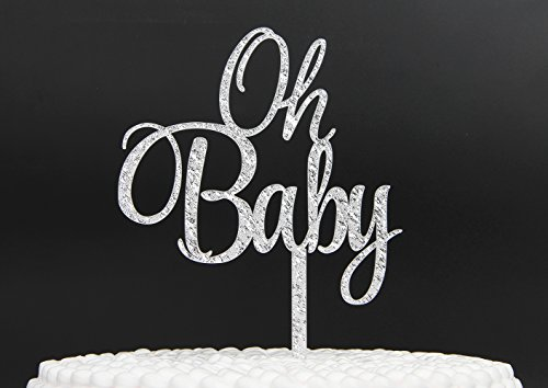 Firefairy(TM OH Baby Silver Cake Topper Baby Shower Birthday Party Decoration
