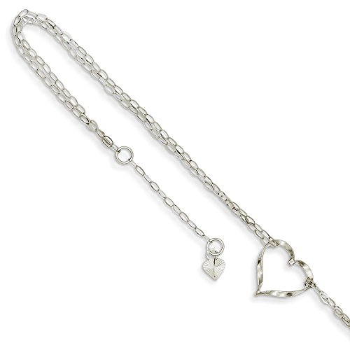 14K White Gold Double Strand Heart Anklet 9 Inches