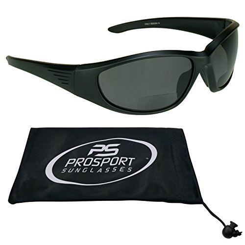 Biker Polarized Bifocal Sunglasses 2.50 with Polycarbonate Safety Lenses for Men and for Women. Free Microfiber Cleaning Case. Overdrive/SMK/2.5