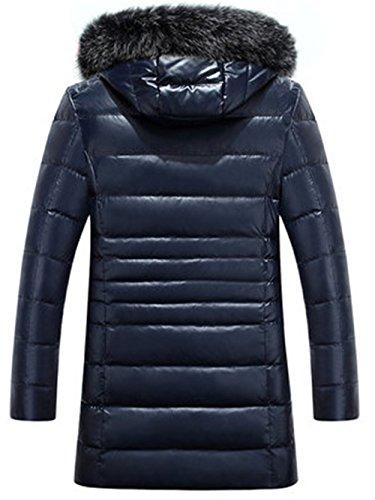 Warm Blue Outwear Winter Jacket Hood Padded Men's Fur Thick Windproof Duck Coat Down Parka d4OwBw