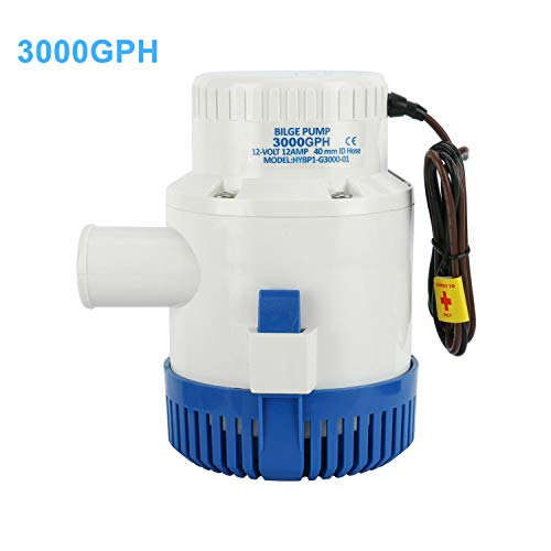 - DasMarine 3000 GPH 12v Boat Marine Plumbing Electric Bilge Pump 1 1/2