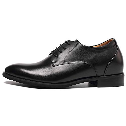 Mens Elevator Dress Shoes - Invisible Height Increasing Elevator Wedding Shoes for Men - Men's Dress Oxfords 2.96 Inches Taller Black
