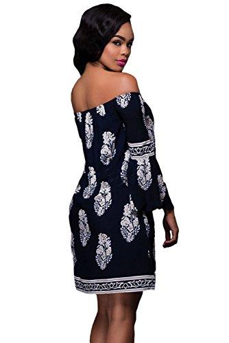 Nuevo Mujer Azul marino estampado floral off-Shoulder Bell Mangas Shift Vestido Club wear tarde vestidos de fiesta verano talla M 10–�?2EU 38–�?0