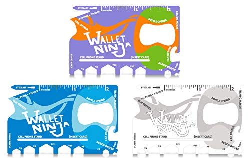 Wallet Ninja 18 in 1 Credit Card Multi-Tool: (Baby Blue, Snow White, Mutant Purple) Eyeglass Screwdriver, Hex Wrenches, Bottle Opener, Phone Stand, Can Opener, Ruler