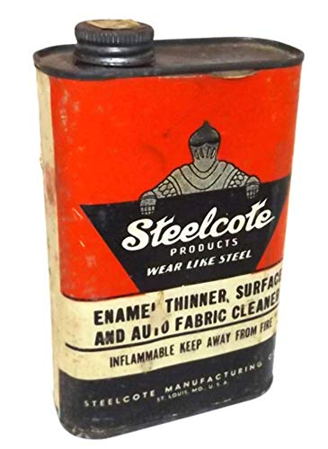 - Vintage Party Full Steelcote Enamel Thinner Cleaner Advertising Tin Can