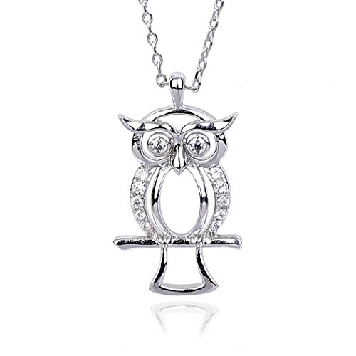 NickAngelo's Owl Pendant Necklace Cubic Zirconia Jewelry By (rhodium-plated-copper, cubic-zirconia)