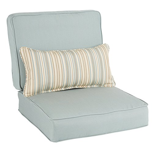 Humble and Haute Oakley Sunbrella Solid Indoor/Outdoor Corded Chair Cushion Set and Lumbar ()