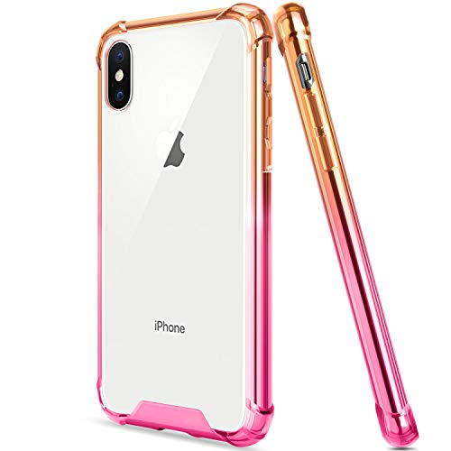 Salawat Compatible iPhone Xr Case, Clear iPhone Xr Case Cute Anti Scratch Slim Phone Case Cover Reinforced Corners TPU Bumper Shockproof Protective Case for iPhone Xr 6.1inch 2018 (Yellow Pink)