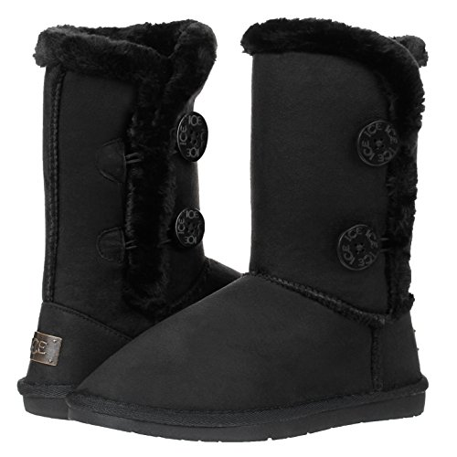 Women's Twin Button Fully Fur Lined Waterproof Winter Snow Classic Boots (7, Black)