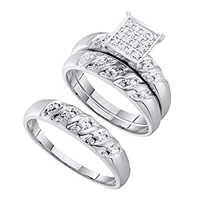 Jewel Tie Solid 10k White Gold Trio Mens & Womens Round Diamond Cluster Bridal Engagement Ring Wedding Band Set 1/12 Cttw.