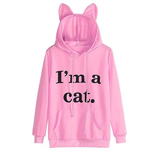Sweatshirt,Toimoth Womens Cat Long Sleeve Hoodie Sweatshirt Hooded Pullover Tops Blouse (Pink,S) -