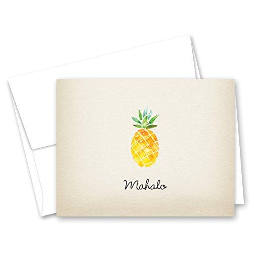 50 Watercolor Rustic Pineapple Hawaiian Mahalo Thank You Cards + Envelopes]()