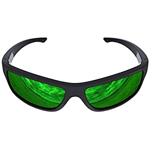 Charlie V Premium American Made Sunglasses with Polarized Lenses (Matte Black, Green Reflective)