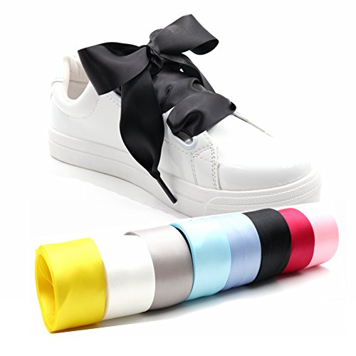Long Ribbon Eyelet - COOL LACE Satin Ribbon Shoelaces Flat Shoe Laces for Sneakers 1 Pair Pack 32mm Wide 3 Different Lengths (63