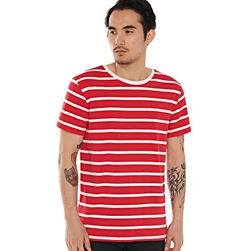 Striped T Shirt for Men Sailor Tee Breton Stripe Top Basic White on Red S