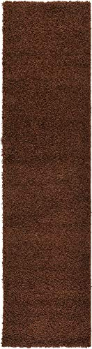 Unique Loom Solo Solid Shag Collection Modern Plush Chocolate Brown Runner Rug (3' x 10')