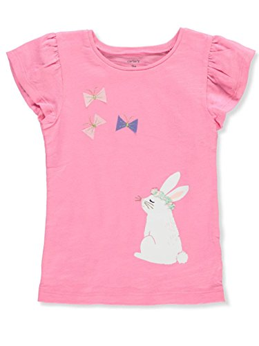 Bunny Girls T-shirt - Carter's Girls' 2T-8 Bunny Flutter Sleeve Top 6-6X