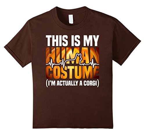 Kids Corgi Halloween 2017 Shirt - This is my human costume 12 Brown