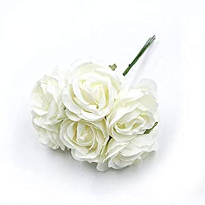 GSD2FF 6pcs/lot 4cm Silk Rose Bouquet Artificial Flower Wedding Home Decoration DIY Wreath Scrapbook Gift Box Flower,Milky White 12
