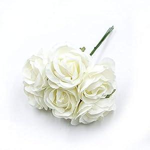 GSD2FF 6pcs/lot 4cm Silk Rose Bouquet Artificial Flower Wedding Home Decoration DIY Wreath Scrapbook Gift Box Flower,Milky White 69