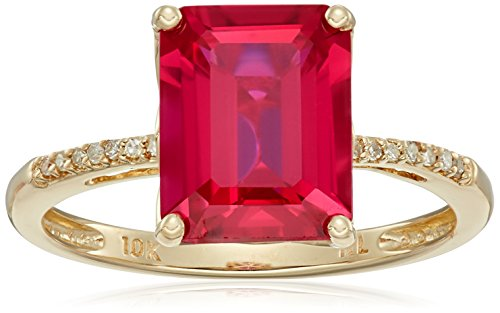 10k-Yellow-Gold-Emerald-Cut-Created-Ruby-with-Diamond-Accent-Ring-Size-7