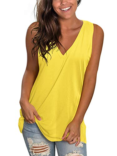 (SAMPEEL Womens Tank Tops Loose Fit Ladies Casual Plus Size Cami Shirt Tunic Summer Yellow XXL)