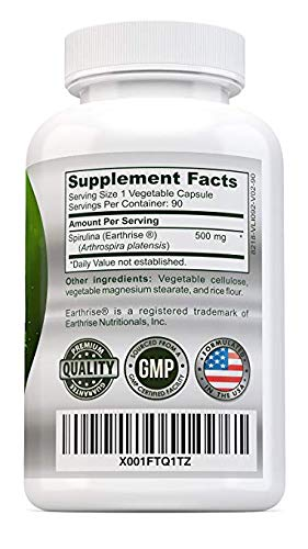 LuRoot Organic Spirulina Superfood Non-GMO - 500 mg Powder Capsules, Spirulina Powder Supplement | High Protein Rich in Vitamins and Calcium - Helps Boosts Immune System, 90 Counts (1)