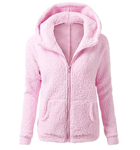 Mogogo Fall Winter Fitting Hoode Pink Jacket Fur Faux Slim Zipper Womens Coat HgqHxrwT