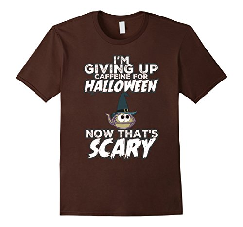 Mens Halloween Coffee Lover Costume Now That's Scary T-Shirt XL Brown - Cup Of Joe Halloween Costume