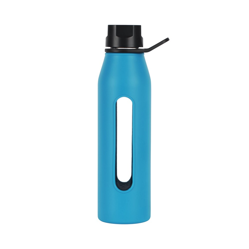Takeya Classic Glass Water Bottle with Silicone Sleeve, 22 oz, Cobalt