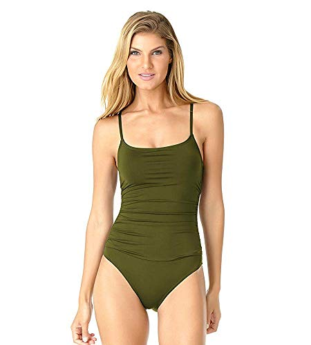 Anne Cole Women's Shirred Classic Lingerie One Piece Swimsuit, New Olive, 12 (Maillot Bathing Suit)